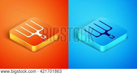 Isometric Garden Pitchfork Icon Isolated On Orange And Blue Background. Garden Fork Sign. Tool For H