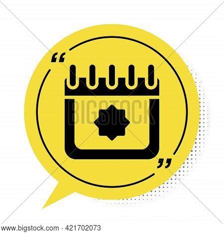 Black Ramadan Calendar Icon Isolated On White Background. Ramadan Kareem And Islamic Symbols. Yellow