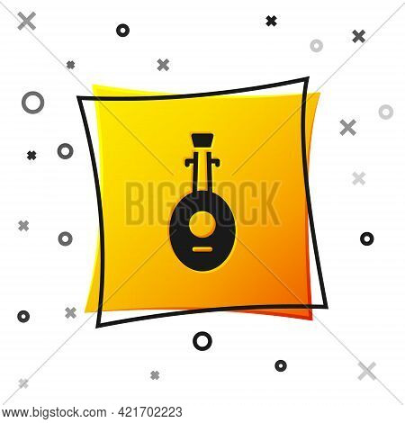 Black Musical Instrument Lute Icon Isolated On White Background. Arabic, Oriental, Greek Music Instr