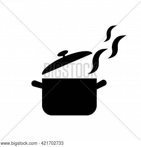 Pan, Saucepan With Vapor Solid Black Line Icon. Kitchen Or Recipe Concept. On White Background. Flat