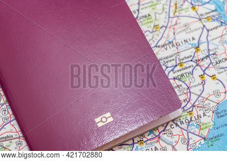 Passport Over Usa Map. Focus On The North American Continent. Emigration, Travel, Destination Concep