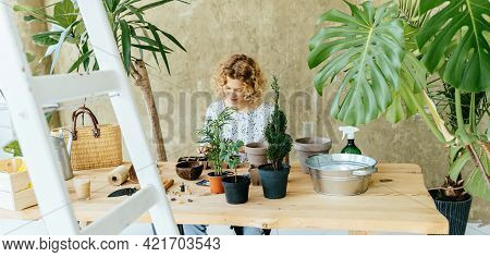 Agriculture,indoor Garden,room With Plants Banner. Charismatic Woman Taking Care Of Potted Green Pla
