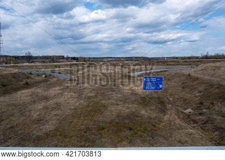 Bogdanikha, Ivanovo Region, Russia-02.05.2021: Long-abandoned Construction Of A Road Interchange On