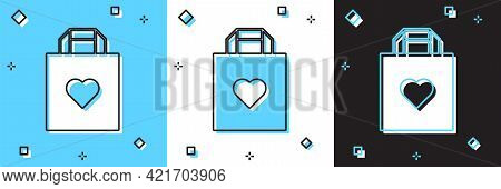 Set Shopping Bag With Heart Icon Isolated On Blue And White, Black Background. Shopping Bag Shop Lov