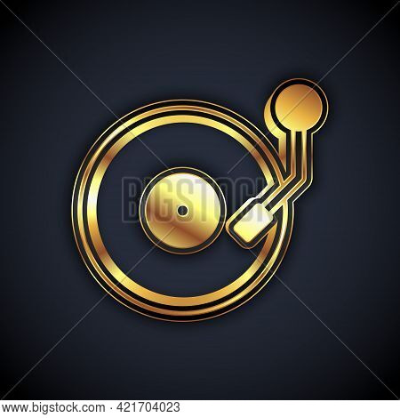 Gold Vinyl Player With A Vinyl Disk Icon Isolated On Black Background. Vector