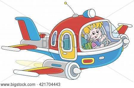 Happy Little Boy Piloting A Colorful Toy High-speed Jet Plane On A Playground, Vector Cartoon Illust