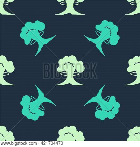 Green And Beige Nuclear Explosion Icon Isolated Seamless Pattern On Blue Background. Atomic Bomb. Sy