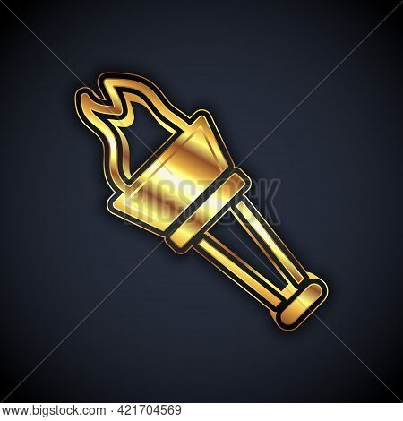 Gold Torch Flame Icon Isolated On Black Background. Symbol Fire Hot, Flame Power, Flaming And Heat.