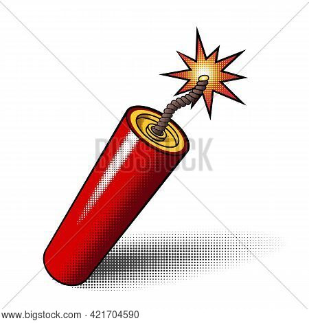 Red Dynamite Stick Icon With Burning Explosive Fuse And Halftones Isolated On White Background. Vect