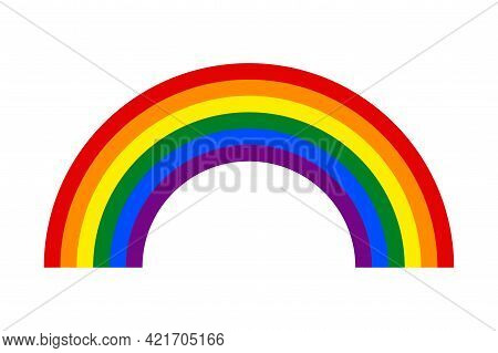 Rainbow With Six Colors - Symbol Of Lgbt Community - Vector Emblem Of Gender Spectrum