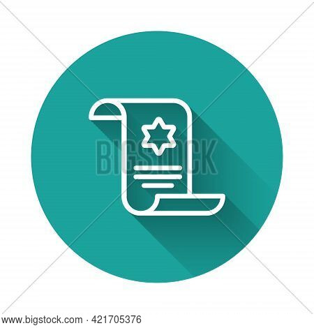 White Line Torah Scroll Icon Isolated With Long Shadow Background. Jewish Torah In Expanded Form. St