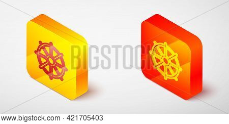 Isometric Line Dharma Wheel Icon Isolated On Grey Background. Buddhism Religion Sign. Dharmachakra S
