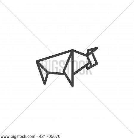 Buffalo Origami Line Icon. Linear Style Sign For Mobile Concept And Web Design. Paper Animal Bison O