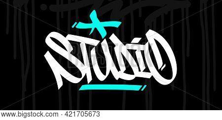 Hip Hop Hand Written Urban Graffiti Style Word Studio Vector