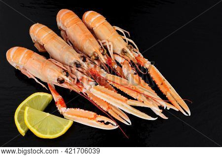Whole Dublin Bay Prawns Also Known As Langoustine And Scampi On A Slate Stone Background