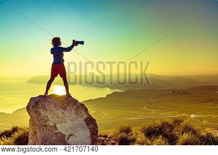 Female Tourist Traveller With Camera Taking Travel Picture From Coastal Spanish Landscape, Mesa Rold