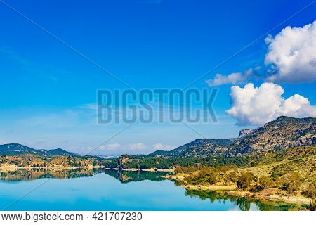 Spanish Nature Landscape. Embalse Del Guadalhorce And Surrounding Countryside. Ardales Reservoir, Ma