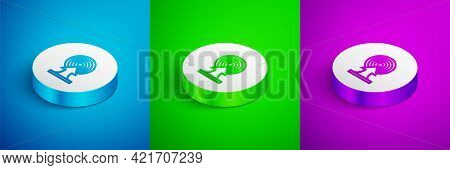 Isometric Line Target With Arrow Icon Isolated On Blue, Green And Purple Background. Dart Board Sign