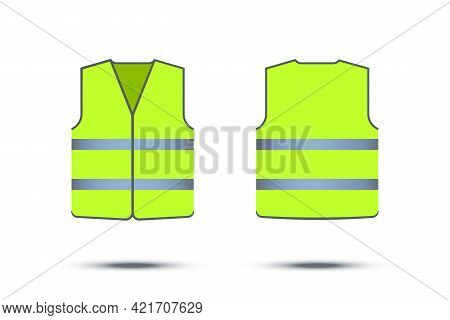 Green Safety Vest With Reflective Strips Isolated On White Background. Vector Work Uniform, Front An