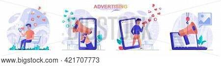 Advertising Concept Scenes Set. Advertisement Campaign In Social Networks, Attracting Clients, Busin
