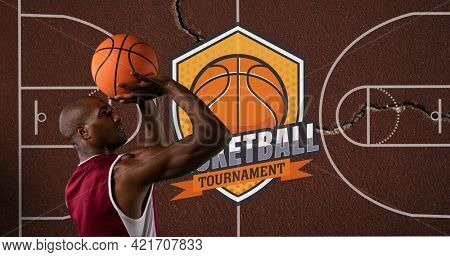 Composition of basketball player throwing ball over basketball court. sport event and competition concept digitally generated image.