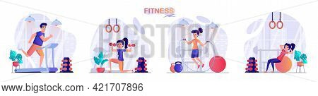 Fitness Concept Scenes Set. Man Running On Treadmill, Woman Doing Exercises With Dumbbells Or Ball,
