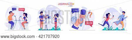 Journalism Concept Scenes Set. Journalist Interviews, Reportage Records Reportage, Paparazzi, Work O
