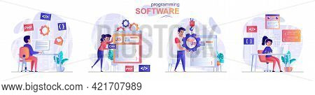 Programming Software Concept Scenes Set. Developers Create Software, Different Programming Languages