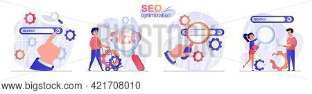 Seo Optimization Concept Scenes Set. Man Customize Search, Increases Position Of Website, Ranking In