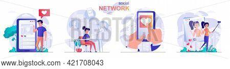 Social Network Concept Scenes Set. Men And Women Communicate Online, Posting Photos, Likes, Comments