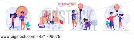 Teamwork Concept Scenes Set. Colleagues Brainstorming, Create Ideas, Collaborate, Team Work Together