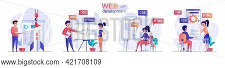 Web Development Concept Scenes Set. Developers Create Webpage, Designers Create Interface, Programme
