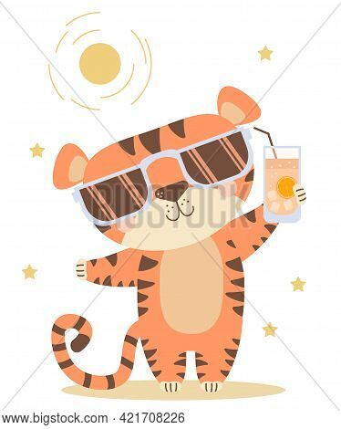 Joyful, Happy, Satisfied Tiger With A Sunglasses And Glass Of Cocktail While Relaxing Under The Sun.