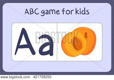 Kid Alphabet Mini Games In Cartoon Style With Letter A - Apricot. Vector Illustration For Game Desig