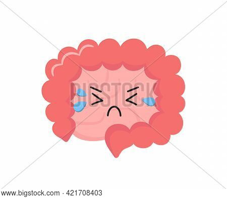 Kawaii Character Of Small And Large Human Intestine. Unhealthy Cry Gut Character. Bowel Diseases - S