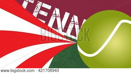 Composition of tennis ball and text on red background. sport event and competition concept digitally generated image.