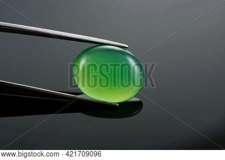 Green Agate Oval Cabochon, Green Onyx, Green Chalcedony. Microcrystalline Quartz Yellowish-green Gem