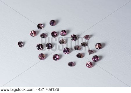 Natural Fancy Red, Purple Color, Weak Saturated, Round Faceted Sapphires Lot. Standart Heated Gems S