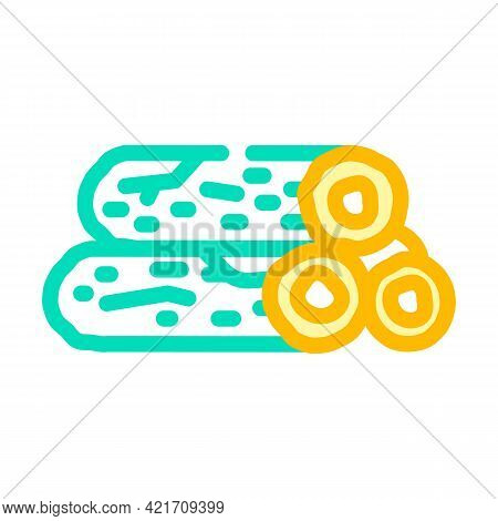 Wooden Bar Building Material Color Icon Vector. Wooden Bar Building Material Sign. Isolated Symbol I