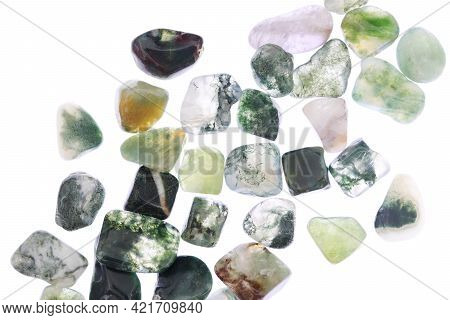 Moss Agate Heap Up Jewel Stones Texture On White Light Isolated Background