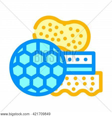 Different Sponges For Car Polishing Color Icon Vector. Different Sponges For Car Polishing Sign. Iso