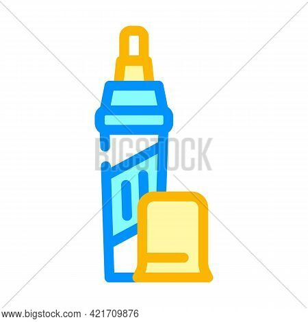 Pencil For Removing Scratches Color Icon Vector. Pencil For Removing Scratches Sign. Isolated Symbol