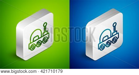 Isometric Line Mars Rover Icon Isolated On Green And Blue Background. Space Rover. Moonwalker Sign.