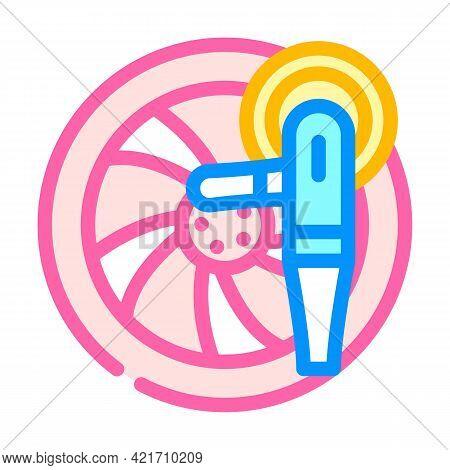 Wheel Disc Car Polishing Color Icon Vector. Wheel Disc Car Polishing Sign. Isolated Symbol Illustrat
