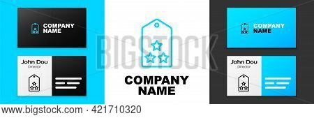 Blue Line Military Rank Icon Isolated On White Background. Military Badge Sign. Logo Design Template