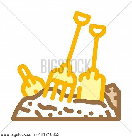Pitchfork And Shovel Tool On Compost Pile Color Icon Vector. Pitchfork And Shovel Tool On Compost Pi