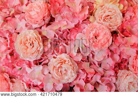 Beautiful Pattern Of Pink Flower Background. Beauty Of Nature And Natural Wallpaper. Flora At Garden