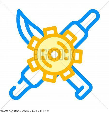 Gear With Kitchen Utensils Color Icon Vector. Gear With Kitchen Utensils Sign. Isolated Symbol Illus