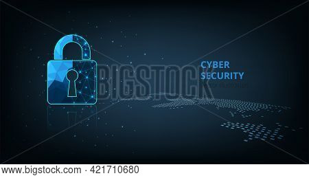 Data Security Concept.visualization Of Cyber Security With Padlock  Lock On Dark Blue Background.cyb