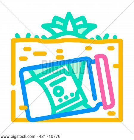 Money Buried In Garden Color Icon Vector. Money Buried In Garden Sign. Isolated Symbol Illustration